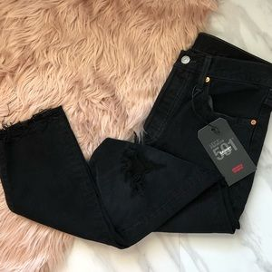 Levi's 501 black ripped high rise jeans size 28